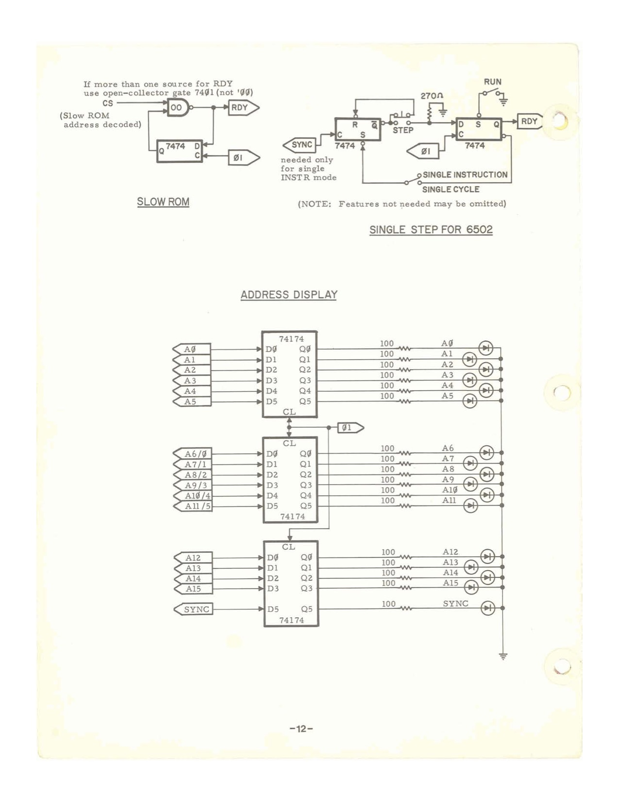 6502 Single Step and address display schematics from Apple I manual