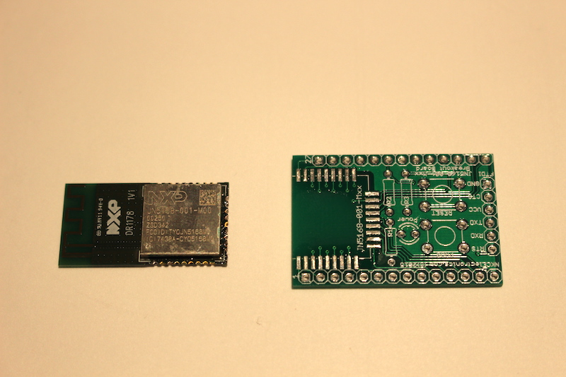 soldering the JN5168-001-Mxx module to the breakout PCB